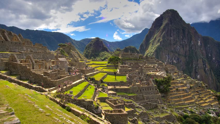 Machu Picchu from right side view in time lapse HDR