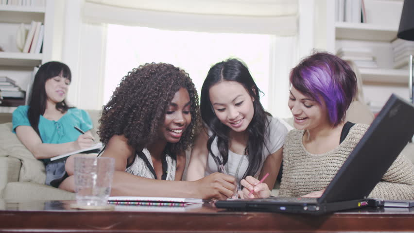 Girls having fun studying or working together   Shutterstock HD Video #4500944
