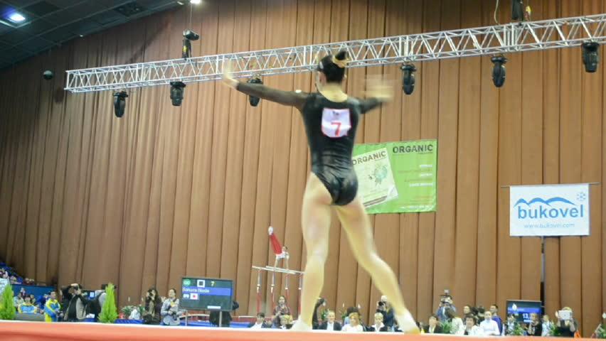 KIEV - MAR 31: Stella Zakharova Cup, International sport gymnastics competition on March 31, 2013 in Kiev, Ukraine. 14 countries take part in the tournament. Sakura Noda (Japan) on the floor.