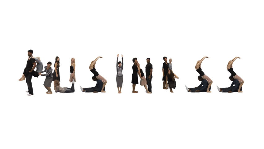Flexible people - Unique horizontal point of view for this take on alphabet people forming the word 'BUSINESS'. Spelling the word out of a combination of interesting moves and holds.