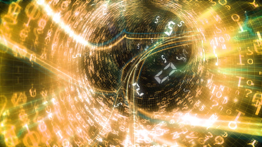 Animated ride inside a data tunnel. Fast paced journey through an endless tube of maths and digital graphics. High quality HD video footage | Shutterstock HD Video #4503251