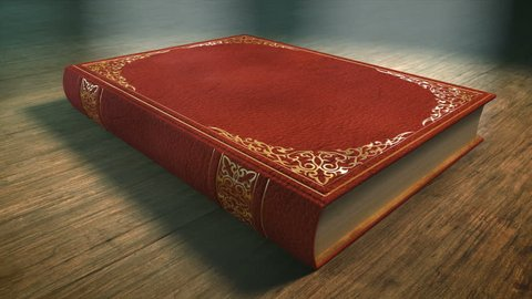 Red Book with Ornaments Lying On A Wooden Table. Book opening 3 D. animation. Includes Mate for Transition, Trackers to fit Your Text or Image.