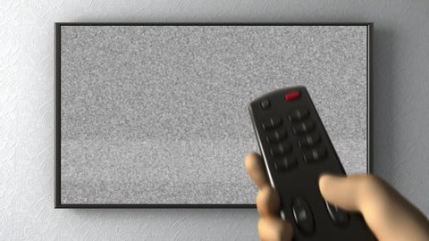 TV on the wall,  turning channels with a remote control. 3d animation
