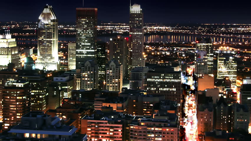 Montreal Central  Night Time-lapse Cityscape from Mont Royal