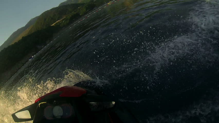 Personal Water Craft - Fast Jet Ski. Extreme Jet Ski Driving - Operator Point of View.