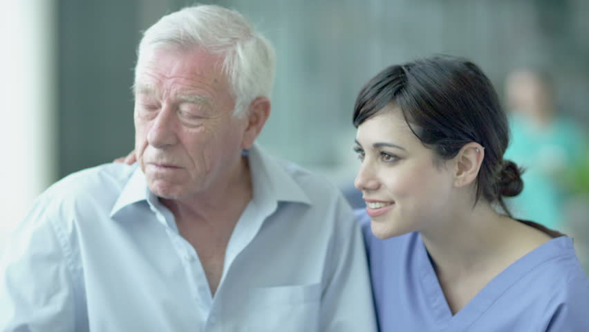 Caring doctors and patients in a modern hospital