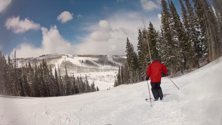 A man skiing at a mountain resort    Shutterstock HD Video #4535921