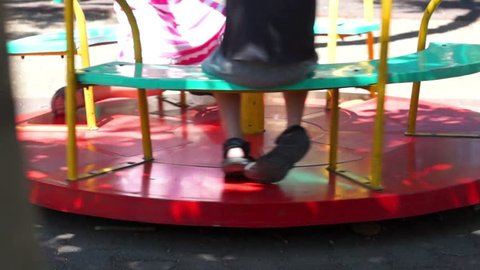 Unidentified kids on carousel