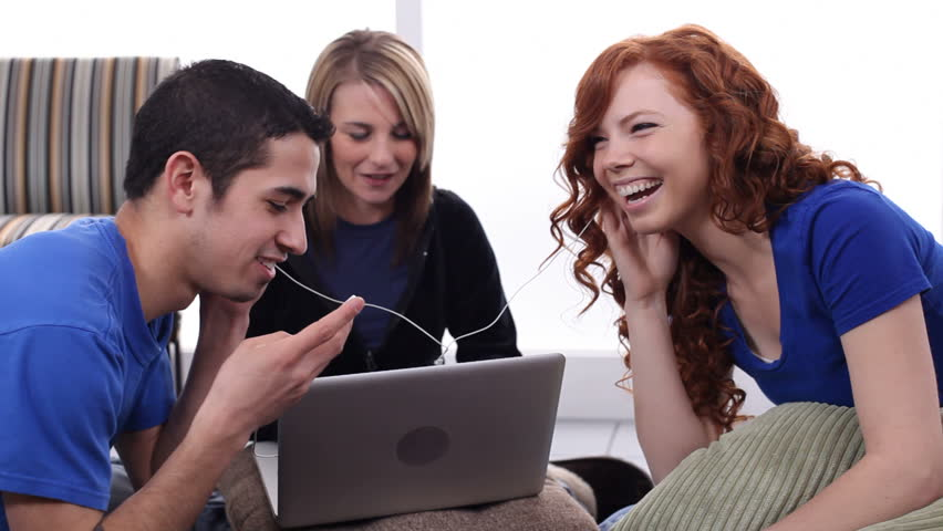 Teens Listen To Music Together Stock Footage Video 100 -4592