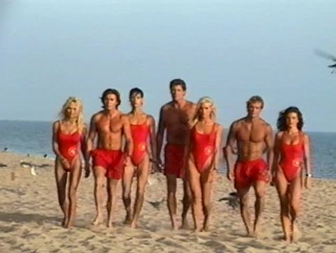SANTA MONICA - August 13, 1995: Pamela Anderson and David Hasselhoff and Baywatch cast at the Baywatch Set in the Santa Monica Beach in Santa Monica August 13, 1995