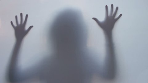 Horror thriller shadow silhouette, woman killed murdered scared