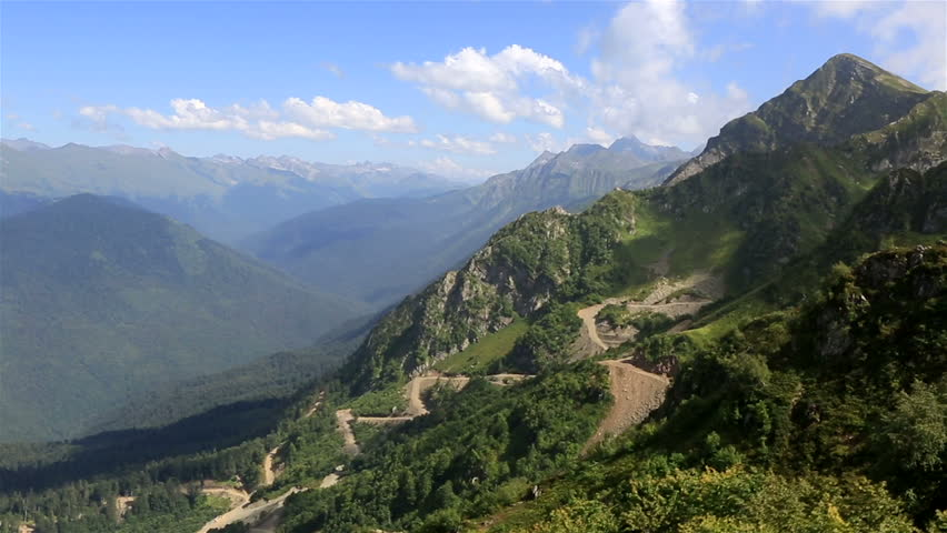 Panorama of the Caucasian mountains in Krasnaya Polyana (view from the cable car). #4575584
