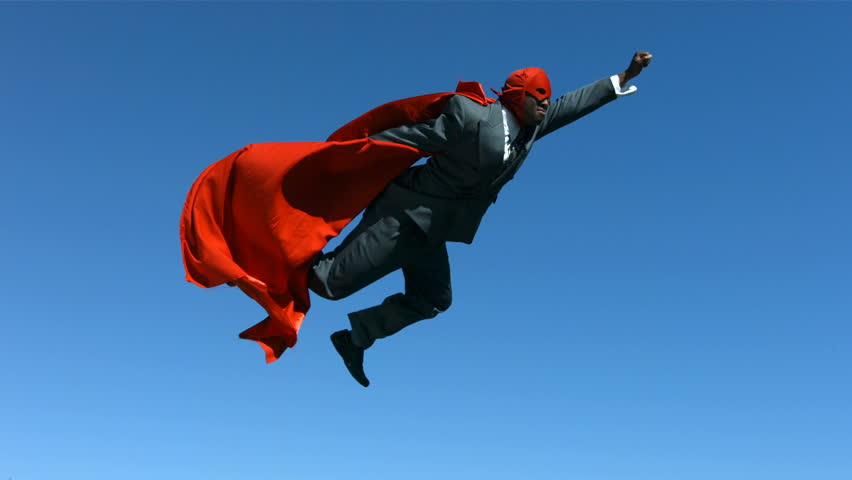 Businessman with superhero mask and cape, slow motion #4578974