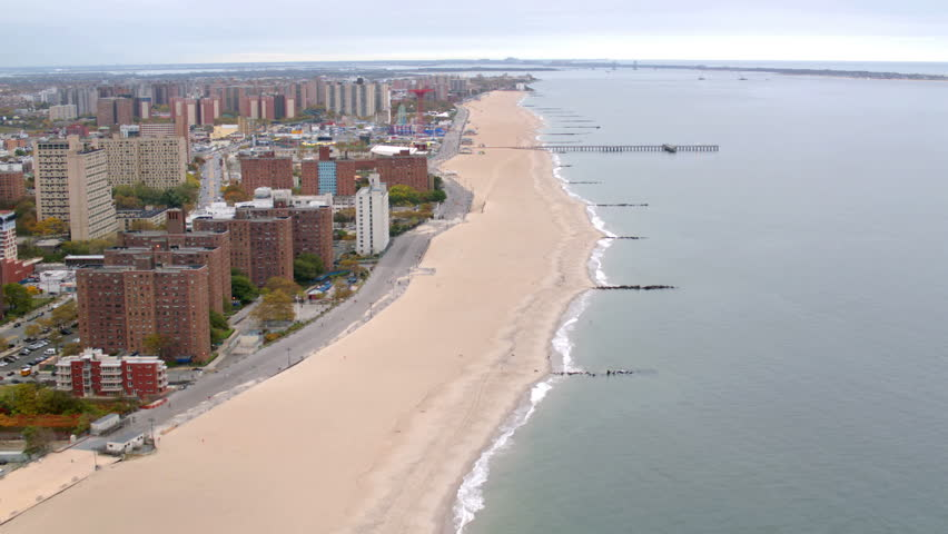 Aerial view of Coney Island beach, New York City