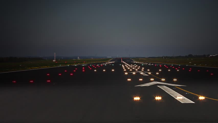 Plane take off. Animation of a silhouette of an airplane taking off at dark