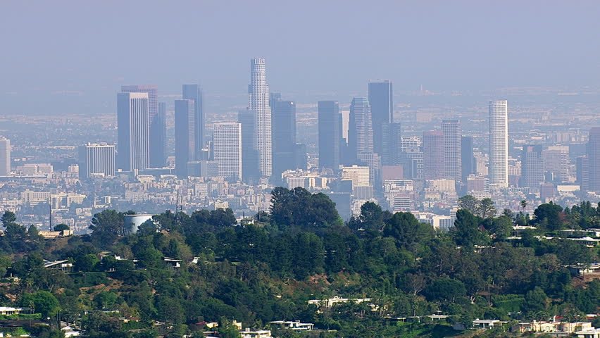 Aerial view of downtown Los Angeles from Hollywood Hills | Shutterstock HD Video #4586984