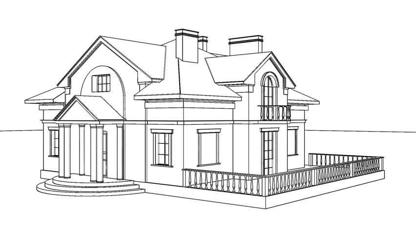 House Architecture Sketch hand drawing architecture sketch of the house stock footage video