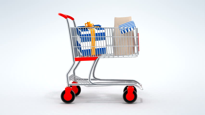 Empty shopping cart moves from the left, stops at the center, fills by food products and moves away. Seamless loop 3d animation. | Shutterstock HD Video #460354