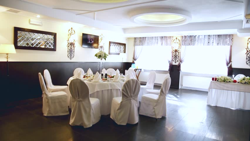 Wedding Reception Table Set Awaiting Stock Footage Video 100