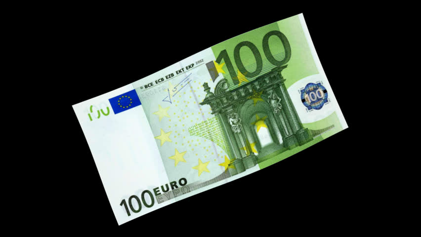 Money Bill - 100 Euro - Diagonal Spinning - 3D Particle Loop - Alpha Channel | Shutterstock HD Video #4626434