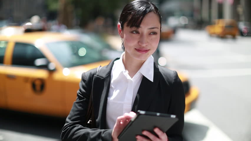 Asian business woman with tablet computer pc