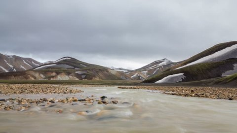 Loop-ready long exposure of river and colorful mountain landscape in Landmannalaugar, Iceland (available in 4K)