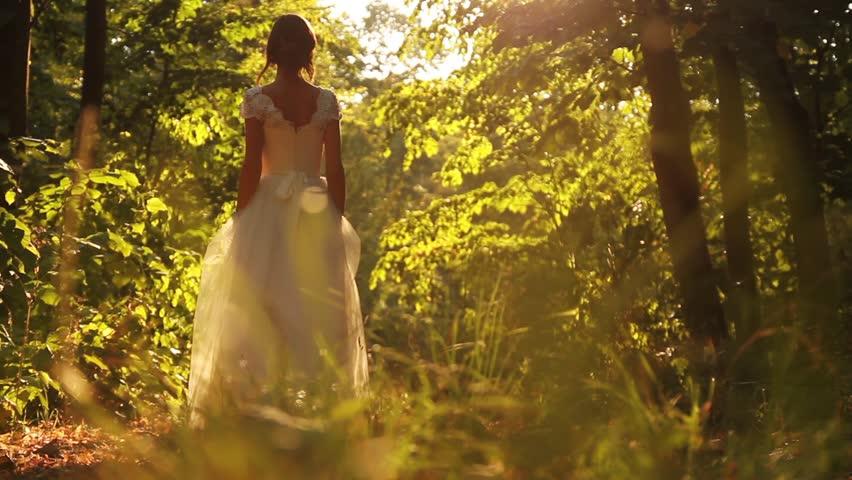 Beautiful Bride Dress Young Woman Walking Forest Nature Sunlight
