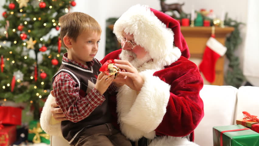 Santa Claus with young boy