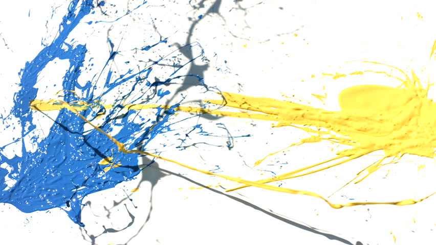 Yellow and blue paint splattering on white background | Shutterstock HD Video #4657244