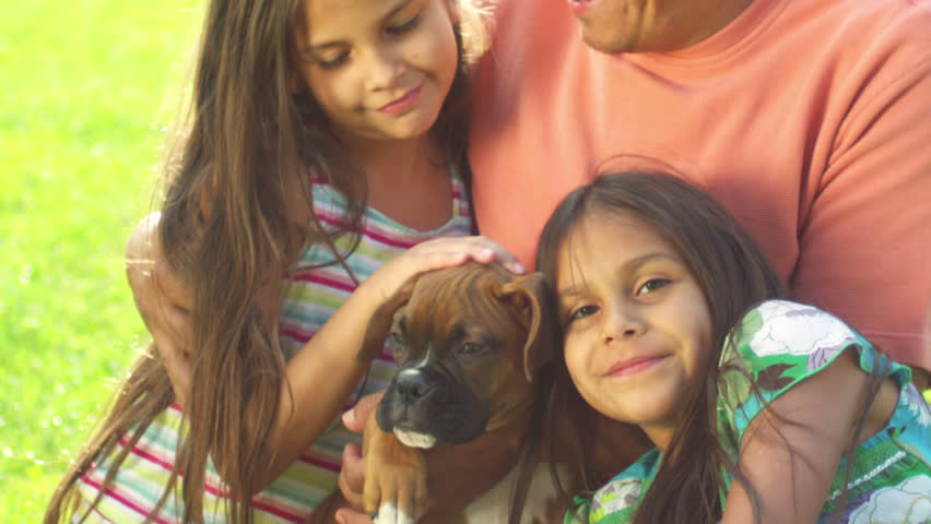A father and his little girls sit in a park with a boxer puppy. Medium shot.