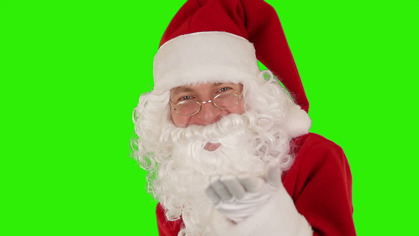 Santa Claus Presenting a Tablet then sending a Kiss and saying Bye Bye, Green Screen