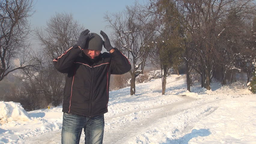 Man Looking and Smiling in Camera, Shivering Man Waving Goodbye, Winter, People