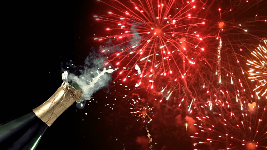 Fireworks and champagne on New Year's against a black background    Shutterstock HD Video #4678250