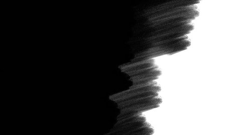 hand drawn paint brush stroke texture covering the area from left to right, can be used as transition for video-editing, black and white matte