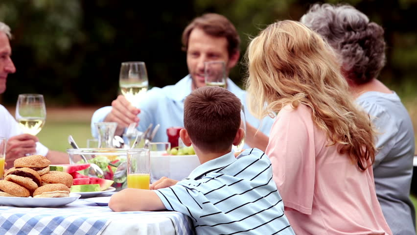 Family clinking wine glasses in a park