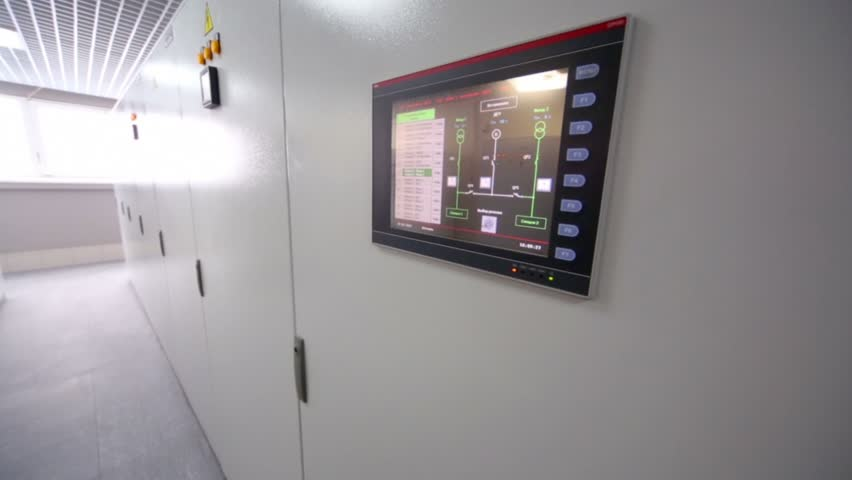 Control panel with sensor screen on racks of equipment for telecommunication system