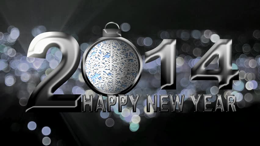2014 Happy New Year Text with Spinning Snowflake Ornament on Silver Sparkly City Bokeh and Flashing Lights Background | Shutterstock HD Video #4734704