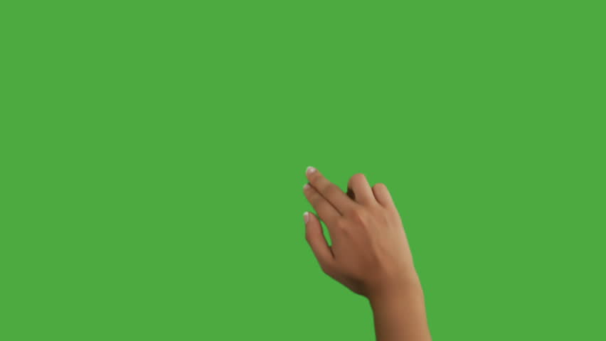 Isolated shot of a female hand on a green screen doing touch screen gestures, scrolling up