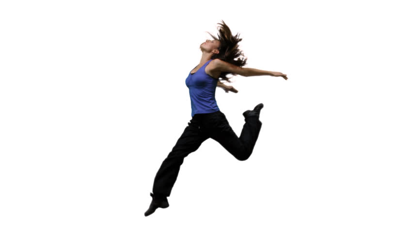Female dancer jumps on air. Time freezes. Camera spins 180 degrees around her. Clip includes alpha channel for easy compositing