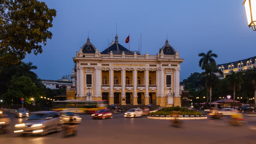 Timelapse of Hanoi Opera House, Vietnam