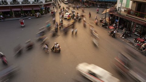 HANOI - SEPTEMBER 17: Timelapse view of crazy traffic in Hanoi Hoan Kiem district (old quarter) on September 17 2013 in Hanoi, Vietnam.