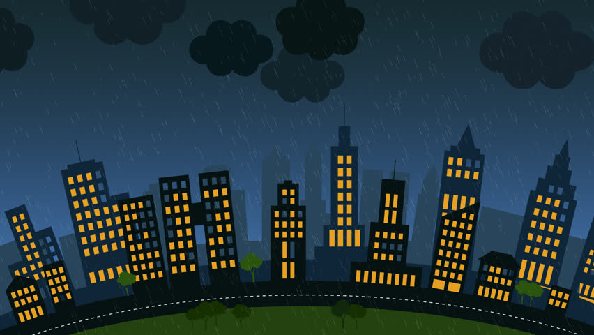 loopable animation of a city with skycrapers at stormy night lightning strike in the background stock clip 4757384 stock clips