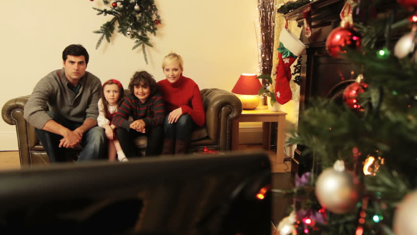 jib christmas television a family watching tv at