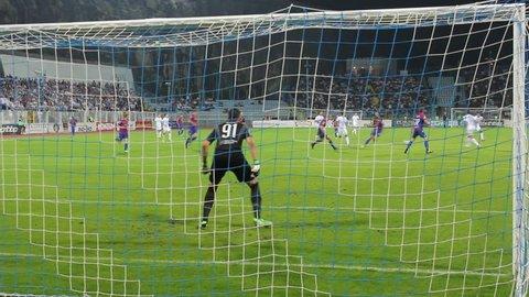 RIJEKA, CROATIA - SEPTEMBER 28: soccer match between HNK Rijeka and HNK Hajduk (1. Croatian Football league) 2013 in Rijeka, Croatia. Anas Sharbini miss the ball.