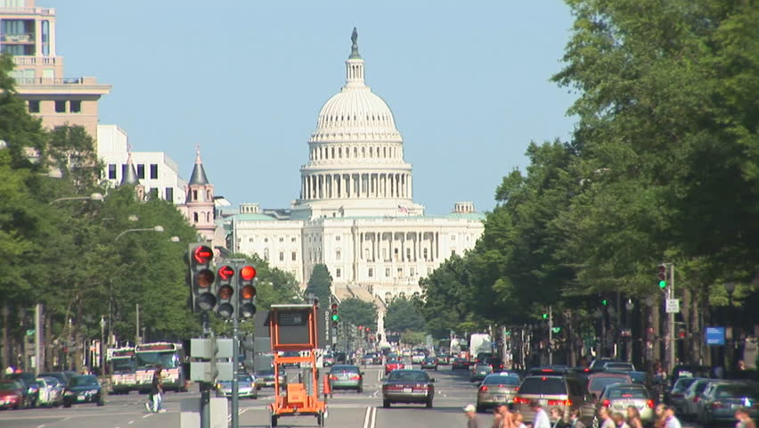 US Capitol with Pennsylvania Avenue - tilt up