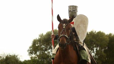 Medieval knight on horseback.