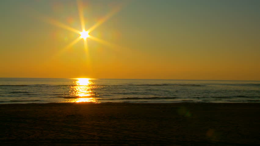 Sunset on the beach - HD stock footage clip