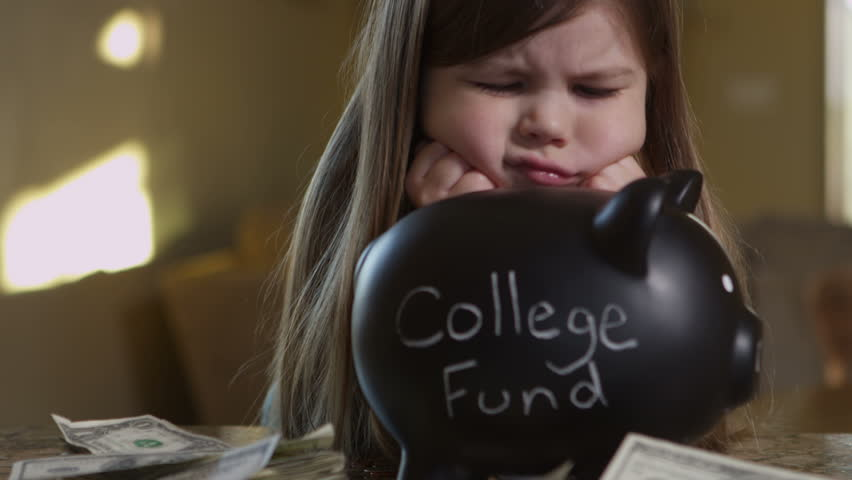 Girl saving money for college fund