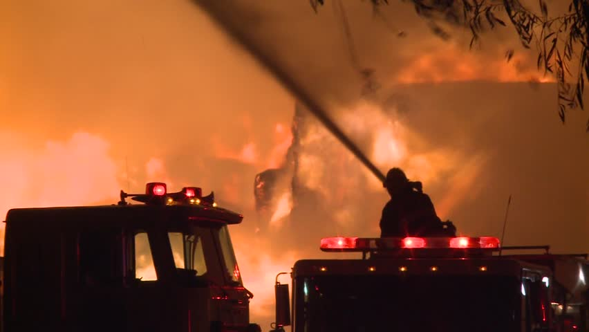 Fire flames fireman battling blazing fire storm at night du Ring wind storm HD high definition 1080 1920x1080 | Shutterstock HD Video #4787144