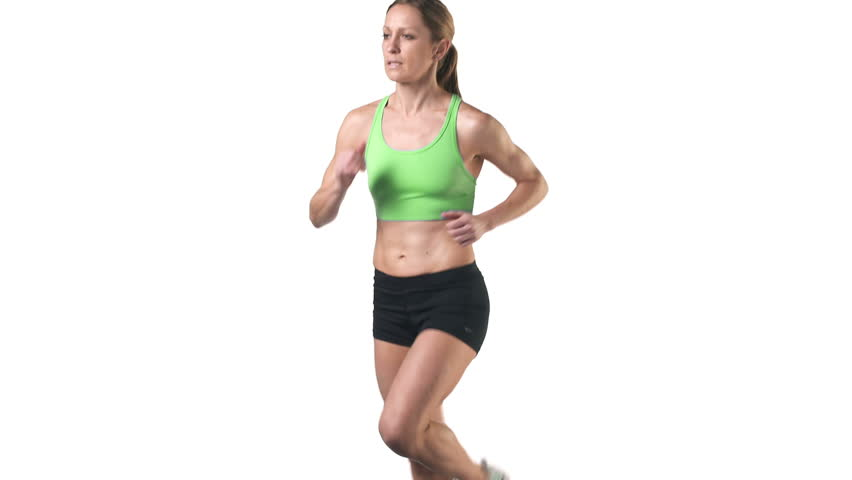 A female jogger runs in place on a white background